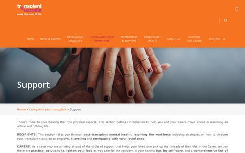 Screenshot of Support Page transplant.org.au - Support - Transplant Australia - captured Oct. 20, 2018