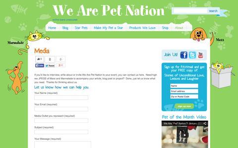 Screenshot of Press Page wearepetnation.com - Media | We Are Pet Nation - captured Oct. 7, 2014