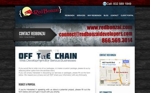 Screenshot of Contact Page redbonzai.com - Contact RedBonzai Web Development & Design Company: Houston, Texas | RedBonzai - captured Oct. 9, 2014