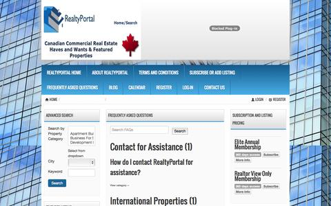 Screenshot of FAQ Page realtyportal.ca - Frequently Asked Questions « RealtyPortal.ca RealtyPortal.ca - captured Nov. 4, 2014
