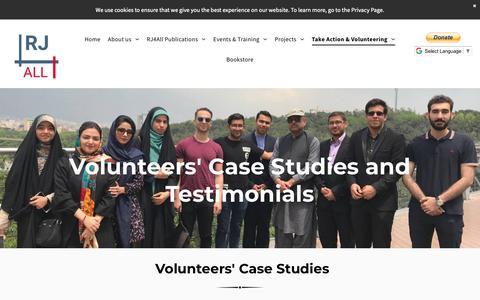 Screenshot of Testimonials Page rj4all.info - Partners and Volunteers' Testimonials - captured Nov. 15, 2018