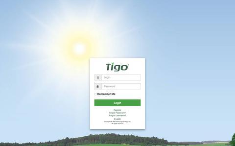 Screenshot of Login Page tigoenergy.com - Tigo Smart - captured Feb. 22, 2019