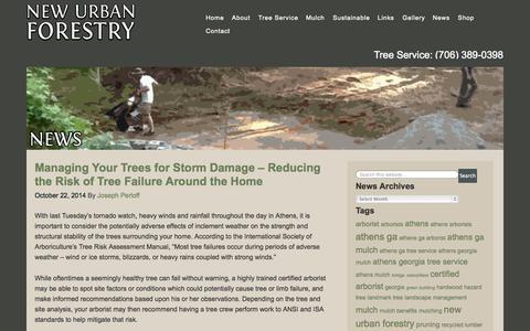 Screenshot of Press Page newurbanforestry.com - News - New Urban Forestry - captured Oct. 24, 2014