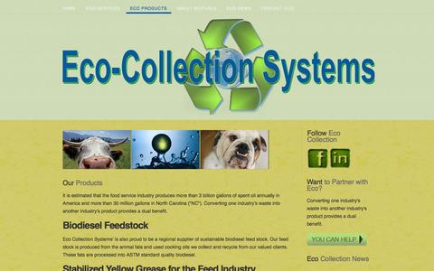 Screenshot of Products Page ecocollectionsystems.com - Our Products - captured Dec. 7, 2015