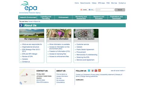 Screenshot of About Page epa.ie - About Us :: Environmental Protection Agency, Ireland - captured Sept. 19, 2014