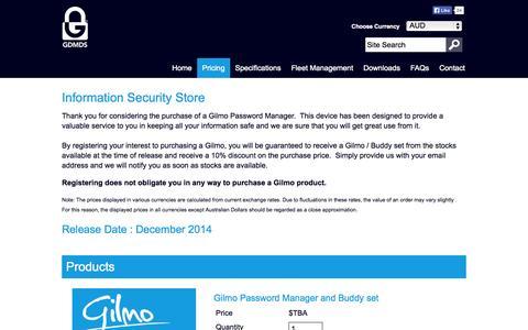 Screenshot of Pricing Page gilmopassword.com - Gilmo Password Security | Shop | Information Security Store - captured Oct. 1, 2014