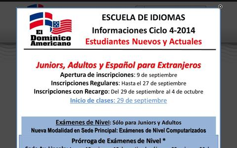 Screenshot of Home Page icda.edu.do - Dominico Americano - captured Sept. 23, 2014