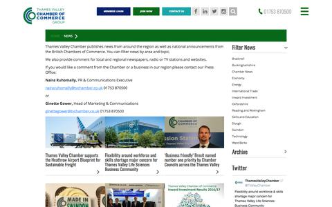 Screenshot of Press Page thamesvalleychamber.co.uk - News Updates | Thames Valley Chamber of Commerce - captured Oct. 24, 2017