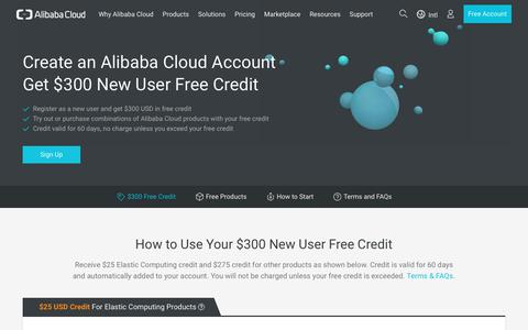 Screenshot of Trial Page alibabacloud.com - Alibaba Cloud Free Credit – Get $300 New User Credit and Free Trial Alibaba Cloud Computing Service   Alibaba Cloud - captured July 5, 2017