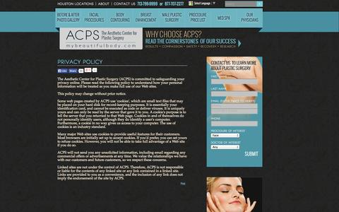 Screenshot of Privacy Page mybeautifulbody.com - Aesthetic Center for Plastic Surgery Houston TX   Privacy - captured Oct. 4, 2014