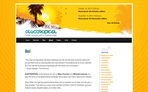 Screenshot of About Page electropical.ca - AboutElectropical - captured Oct. 2, 2014