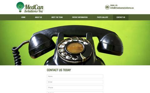 Screenshot of Contact Page medcansolutions.com - MedCan Solutions Inc.   Contact for Medical Marijuana in Alberta - captured Nov. 19, 2016