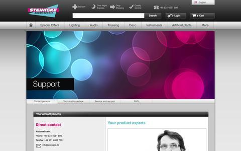 Screenshot of Support Page steinigke.de - Steinigke Showtechnic GmbH | Help - Main | Webshop - captured Sept. 23, 2014