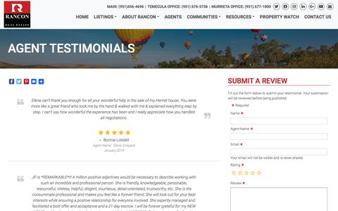 Screenshot of Testimonials Page rancon.com - Agent Testimonials • Rancon Real Estate - captured Aug. 6, 2019