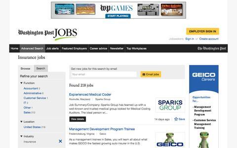 Screenshot of Jobs Page washingtonpost.com - Insurance jobs - captured Feb. 14, 2017