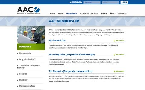 Screenshot of Signup Page accreditedcertifiers.com.au - Membership - Association of Accredited Certifiers - captured Oct. 4, 2014