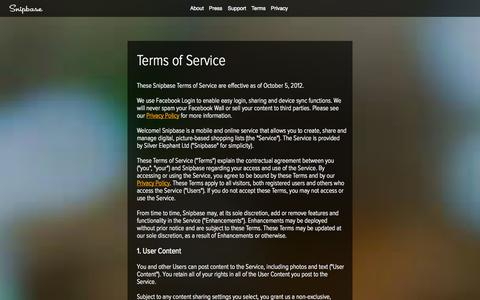 Screenshot of Terms Page snipbaseapp.com - Snipbase - Fast beautiful shopping lists - Terms - captured Oct. 1, 2014