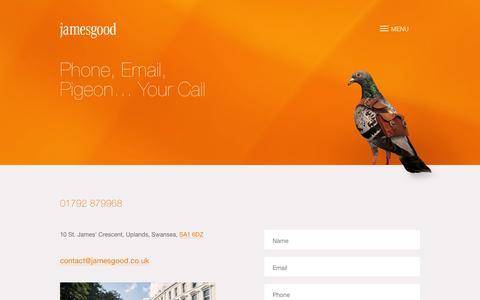 Screenshot of Contact Page jamesgood.co.uk - Contact Us – James Good - captured Jan. 9, 2016