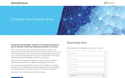 Screenshot of Landing Page microsoft.com - Enterprise Cloud Strategy ebook - captured April 5, 2016