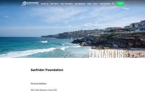 Screenshot of Contact Page surfrider.org - Contact Us - Surfrider Foundation - captured July 18, 2017