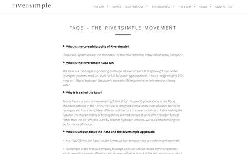 Screenshot of FAQ Page riversimple.com - FAQs - THE RIVERSIMPLE MOVEMENT - - captured Nov. 5, 2017