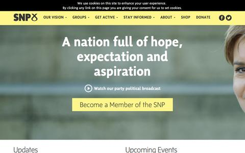 Screenshot of Home Page snp.org - Scottish National Party - captured Oct. 17, 2015