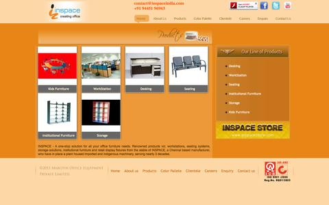 Screenshot of Products Page inspaceindia.com - Student desk manufacturers,Furniture for textile,Writing desk for kids Chennai,Computer tables in Chennai - captured Oct. 27, 2014