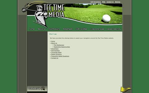 Screenshot of Site Map Page teetimemedia.com - Golf Advertising - captured Oct. 6, 2014