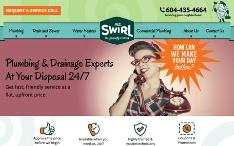 Screenshot of Home Page mrswirl.com - Mr Swirl Plumbing | Plumbing Services Expert In Vancouver - captured Oct. 19, 2018