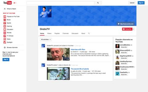 Screenshot of YouTube Page youtube.com - OndreTV  - YouTube - captured Nov. 4, 2014