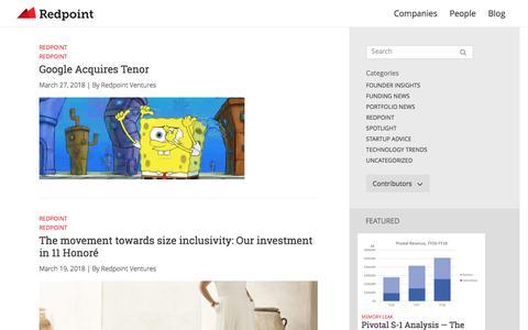 Screenshot of Blog redpoint.com - Blog - Redpoint Ventures - captured April 1, 2018