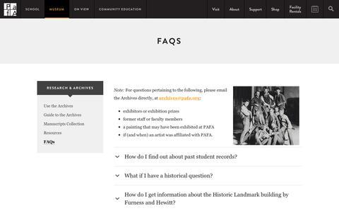 Screenshot of FAQ Page pafa.org - FAQs | PAFA - Pennsylvania Academy of the Fine Arts - captured Sept. 6, 2016
