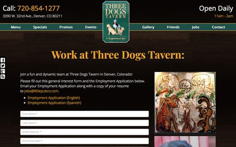 Screenshot of Jobs Page threedogstavern.com - Employment at Three Dogs Tavern - captured Feb. 16, 2018