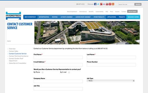 Screenshot of Support Page hydrotechusa.com - Contact Customer Service - American Hydrotech - captured Oct. 4, 2014