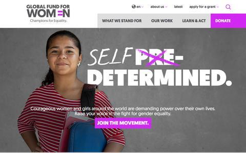 Screenshot of Home Page globalfundforwomen.org - Homepage - Global Fund for Women - captured Oct. 14, 2015