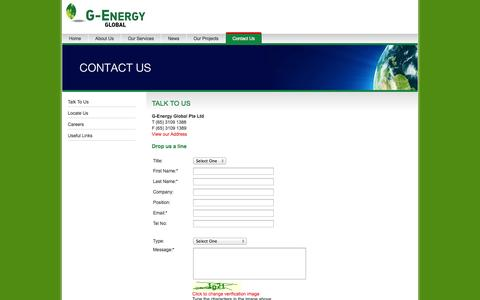 Screenshot of Contact Page genergy.com.sg - Contact Us at G-Energy Global Pte Ltd - captured Oct. 1, 2014