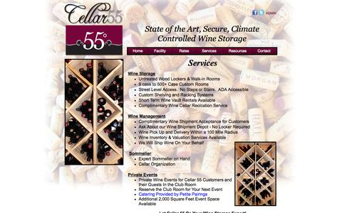 Screenshot of Services Page cellar55degrees.com - Cellar 55 - Premium Wine Storage in Vancouver WA. State of the Art and Secure Wine Cellaring - Services - captured Oct. 2, 2014