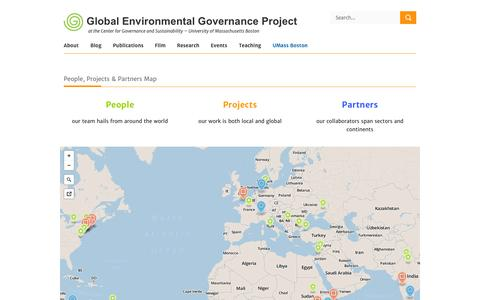 Screenshot of Maps & Directions Page environmentalgovernance.org - GEG Project People, Projects & Partners Map - GEG Project - captured Oct. 3, 2014