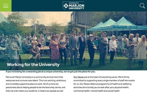 Screenshot of Jobs Page marjon.ac.uk - Working for the University | Plymouth Marjon University - captured Nov. 12, 2017