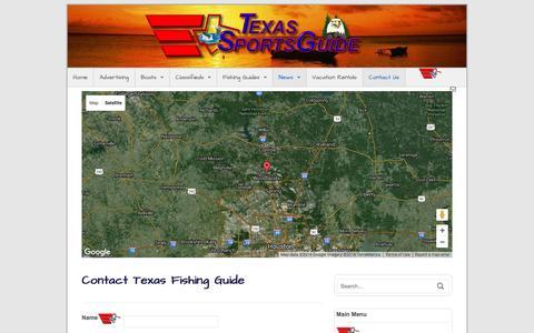 Screenshot of Contact Page texs.com - Contact Texas Fishing Guide   Texas Fishing Guide - captured April 7, 2016