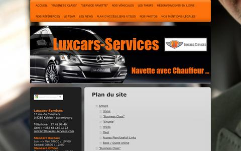 Screenshot of Site Map Page luxcars-services.com - Bienvenue à Luxcars - Services location de Voiture/Navette avec Chauffeur - captured Oct. 1, 2014