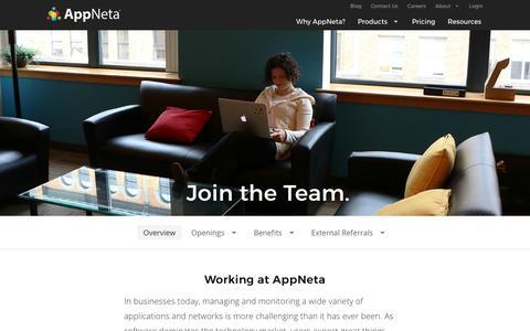 Screenshot of Jobs Page appneta.com - Career Opportunities and Development - captured Oct. 6, 2016