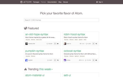 Screenshot of atom.io - Themes - captured March 19, 2016