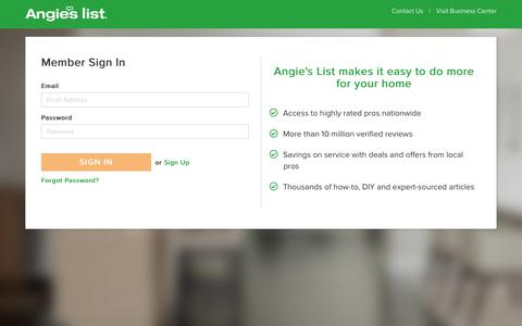 Screenshot of Login Page angieslist.com - Login - Angie's List - captured Sept. 24, 2017