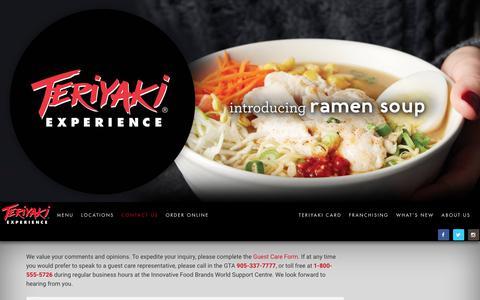 Screenshot of Contact Page teriyakiexperience.com - Contact - Teriyaki Experience - captured June 13, 2017