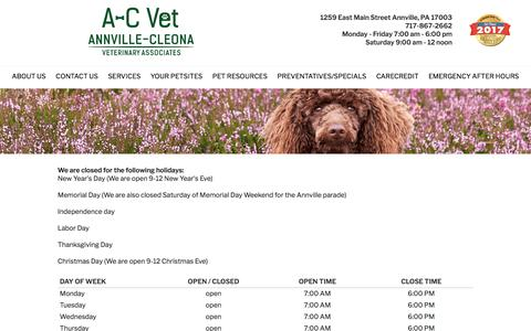 Screenshot of Hours Page a-cvet.com - Hours - Annville-Cleona Veterinary Associates, Inc. - Annville, PA - captured July 2, 2018