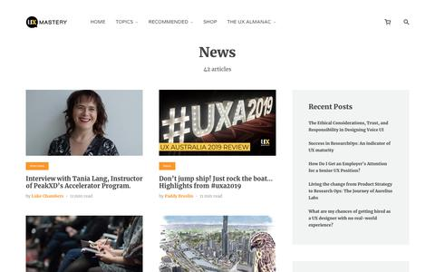 Screenshot of Press Page uxmastery.com - News Archives - - captured Jan. 19, 2020