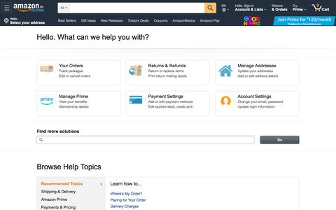 Screenshot of Support Page amazon.in - Amazon.in Help: Help - captured Feb. 25, 2020