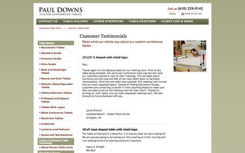 Screenshot of Testimonials Page custom-conference-tables.com - Customer testimonials | Custom conference table testimonials | Paul Downs - captured Oct. 2, 2014