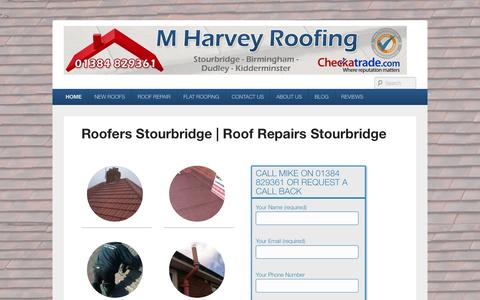 Screenshot of Home Page mharveyroofing.com - Roofers Stourbridge | Roof Repairs Stourbridge » - captured Sept. 30, 2014